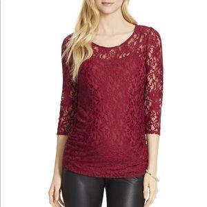 Jessica Simpson plum lace maternity top, medium
